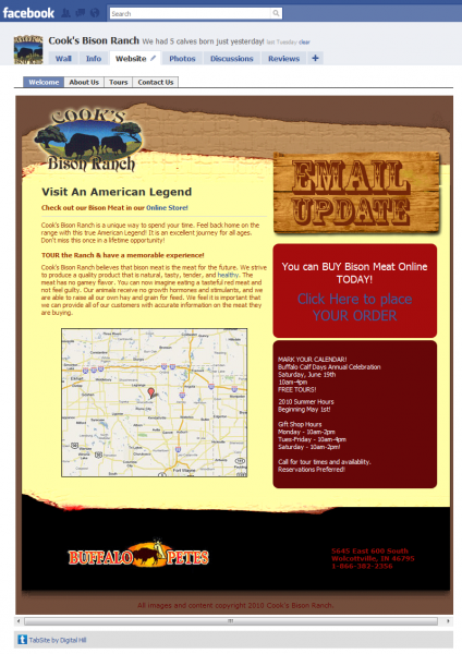 Facebook TabSite Cook's Bison Ranch