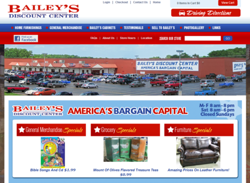 Bailey S Discount Center Launches New Website By Digital Hill